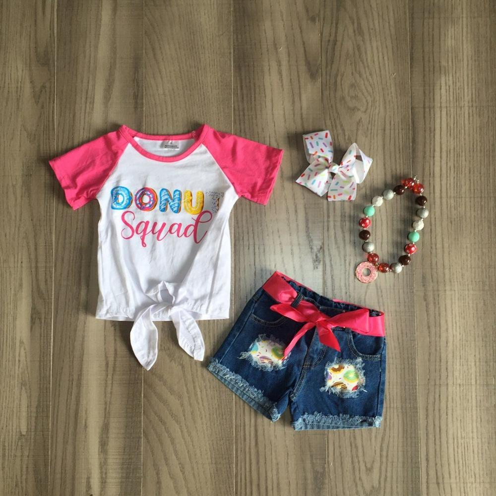 Baby Girls Summer Jeans Outfits Girl Donut Squad Shirts Girls Boutique Denim Outfits With Accessories