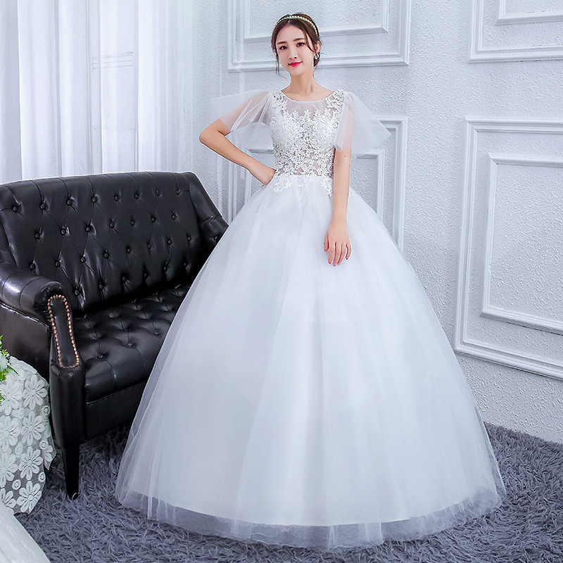 2019 Real Dresses 2020 New Word Han Edition Neat, Lace Shoulder Bride Wedding Dress Show Thin Cultivate Morality Mast Yards