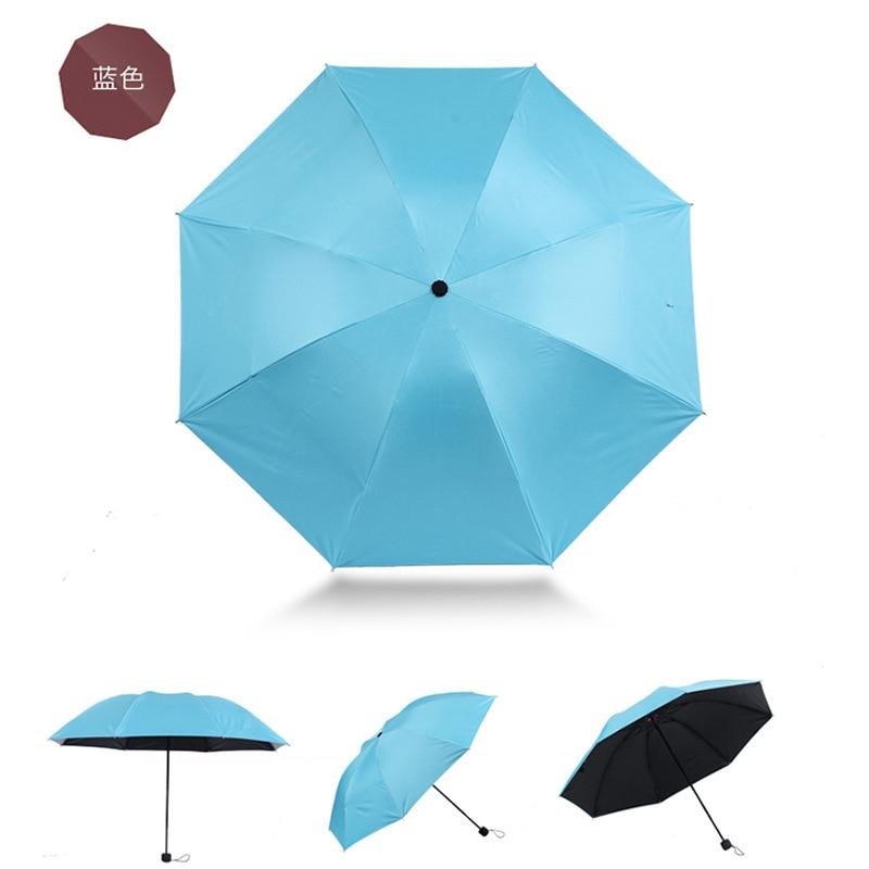 Folding Umbrella Solid Color Vinyl Umbrella Rain Or Shine Dual Purpose Parasol Ultra-Light UV-Protection Sun-resistant Parasol 8