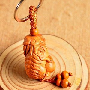 Wood 3D Carving Chinese Feng Shui Geomancy Lion Foo Dog Statue Key Chain Keyring