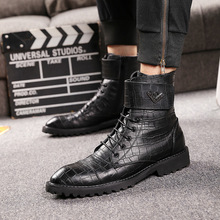 купить Autumn Winter Men Motorcycle boots Genuine leather Lace-Up Male boots British style Mid-Calf boots Black дешево