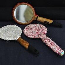 Зеркало для макияжа ручной работы Стразы деревянная портативная