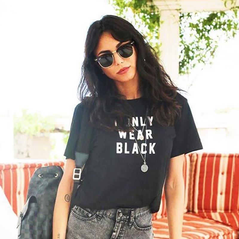 I Only Wear Black Graphic T-shirt Letters Printed Tumblr Gurnge <font><b>Aesthetic</b></font> Tee <font><b>80s</b></font> 90s Girls Fashion Cool T Shirt Harajuku Tees image