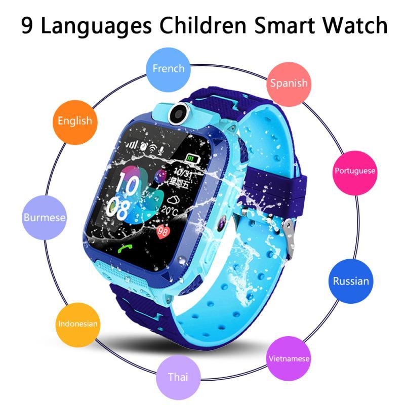Q12 crianças tela colorida inteligente relógio gps posicionamento preciso two-way conversa clara chamada longa espera 3-12 anos de idade