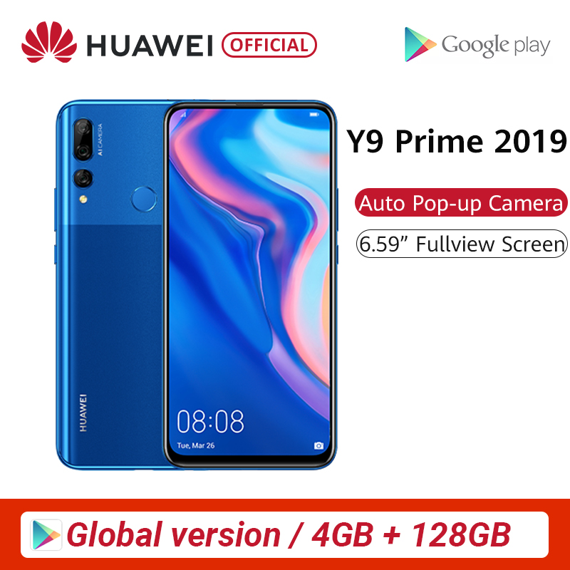 "Global Version <font><b>Huawei</b></font> Y9 Prime 2019 4GB 128GB <font><b>Smartphone</b></font> AI Triple Rear Cameras Auto Pop Up Front Camera 6.59"" cellphone image"
