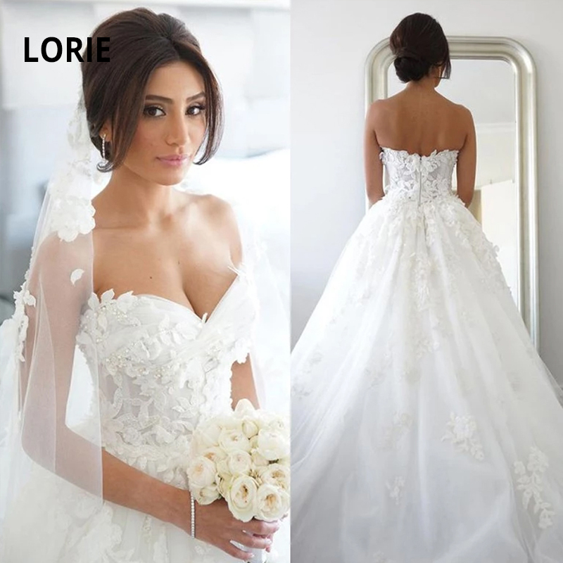 LORIE Elegant Lace Appliqued Wedding Dresses For Women 2019 Soft Tulle White Ivory Bridal Gown Sleeveless Open Back Pary Gowns