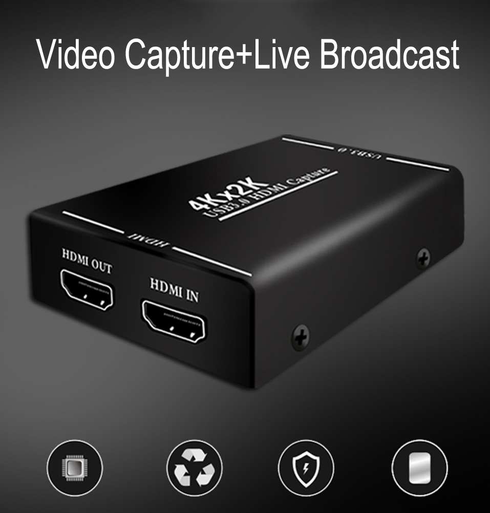 4K HDMI to USB 3.0 Video Capture Card Video Recorder For OBS vMix Wirecast Potplayer VLC Encoder QuickTime Player Live Streaming
