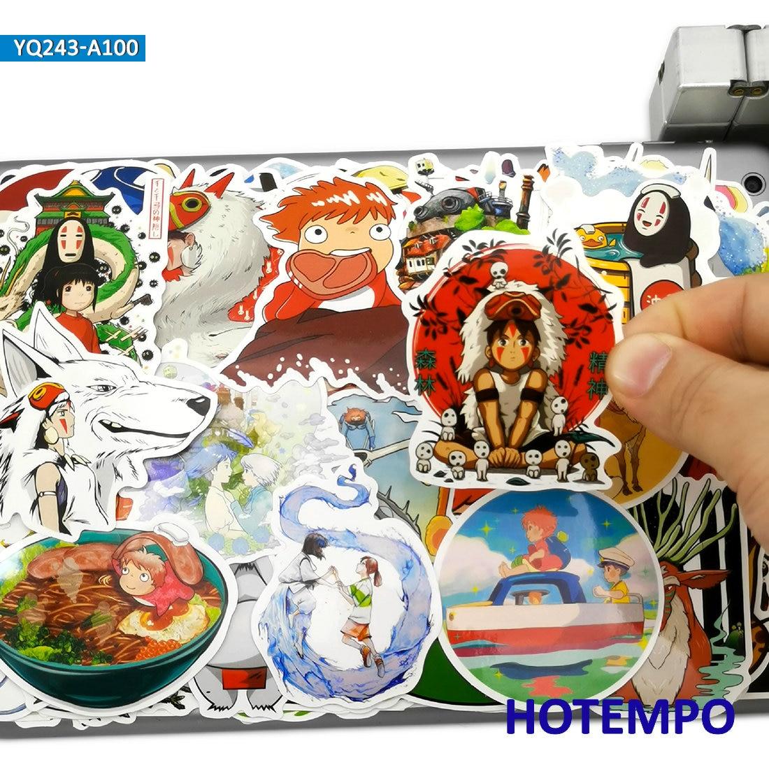 100pcs Manga Miyazaki Hayao Classic Anime Movie Stickers Toys For Kids Mobile Phone Laptop Luggage Skateboard Art Decal Stickers