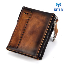 Brand Genuine Leather Wallet Men Coin Pocket Short Clutch Male Card Holder Double Zippers Wallet Leather Money Coin Purse Small цена в Москве и Питере