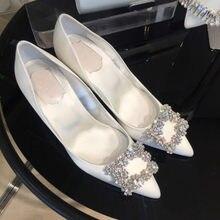 HKXN 2020 nowe srebrne czarne kobiety buty ślubne sztuczny jedwab satyna Rhinestone krystaliczna płaskie czółenka szpilki T