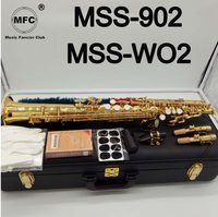 Music Fancier Club Soprano Saxophone MSS 902 MSS WO2 Gold Lacquer With Case Sax Soprano Mouthpiece Ligature Reeds Neck