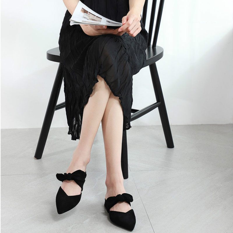 Image 3 - New 2020 Shoes Woman Summer Slippers Women Sandals Flats Shoes Ladies Flock Butterfly Knot Casual Beach Outdoor Elegant SlidesLow Heels   -