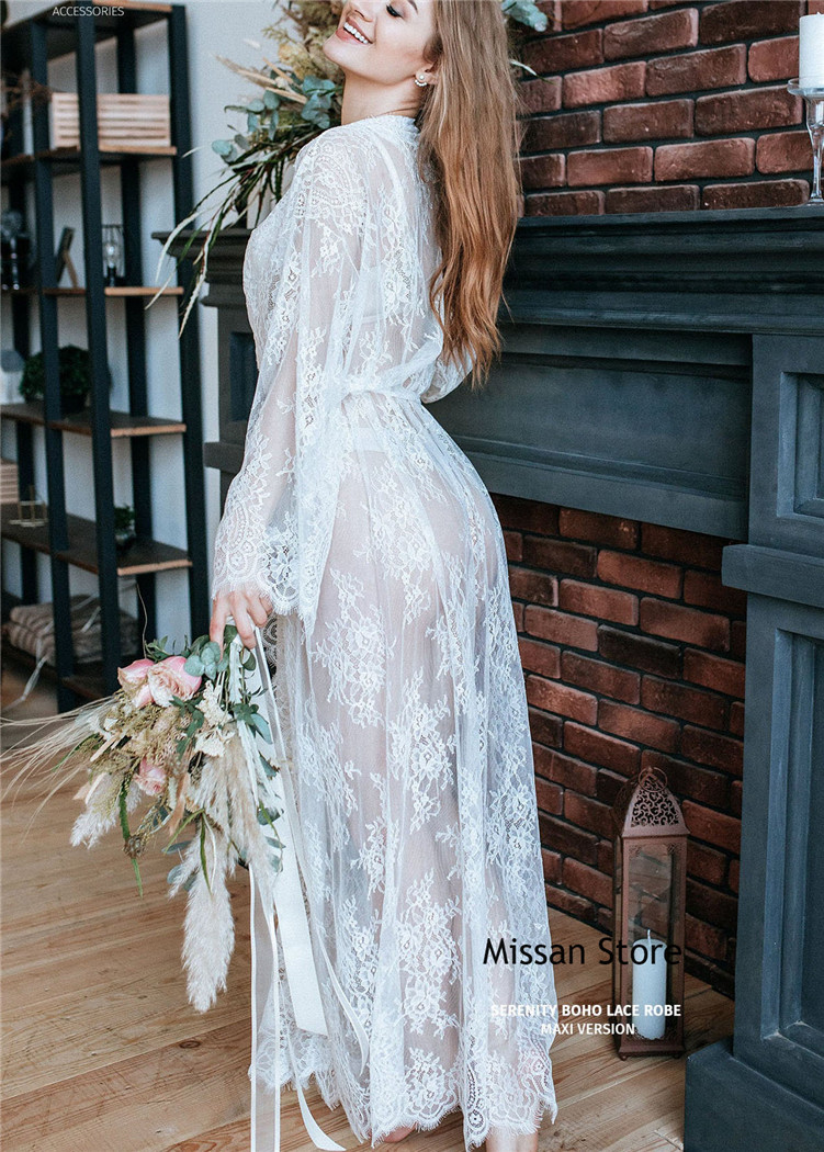 Sexy Ivory Eyelash Lace  Wedding Robe  Bridal Sleepwear Wedding Party Robe
