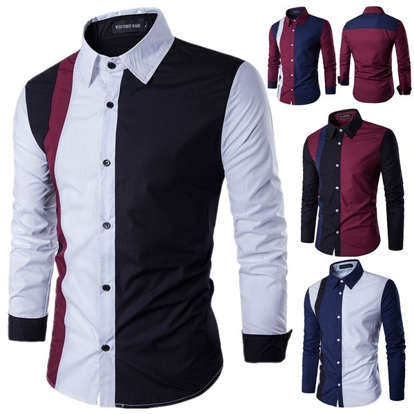 Zogaa 2019 Autumn Fashion Patchwork Men's Shirts Long Sleeve Turn-down Collar Casual Dress Shirts Sexy Slim Fit Camisas Hombre