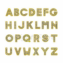 1pc A-Z English letter Alphabet Gold rhinestone Internal Dia: 10mm Slide Letter charms Fit DIY key chain Bracelet Pet Collar(China)