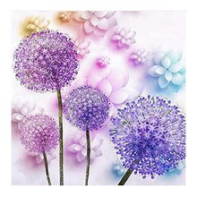 "Full Square/Round Drill 5D DIY Diamond Painting ""Purple Dandelion"" Rhinestones Diamond Embroidery Cross Stitch Home Decor Gift(China)"