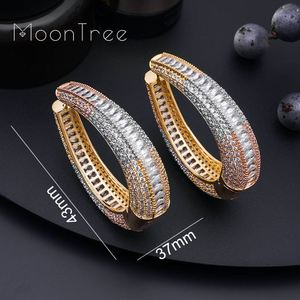 Image 5 - MoonTree Big Earrings Big Wide Circle Full Micro Cubic 3Tone Color Copper Pave Setting Ladies  Earrings Jewelry  Bijoux
