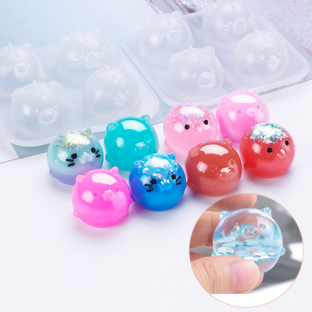 Diy Crystal Epoxy Resin Mold Four Small Animal Mold Piglet Chicken Ornaments Doll Silicone Mold For Resin