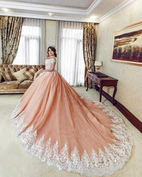 Vestidos De 15 Quinceanera Dresses Sweet 16 Orange Tulle White Lace Ball Gown Royal Train Prom Party Dress