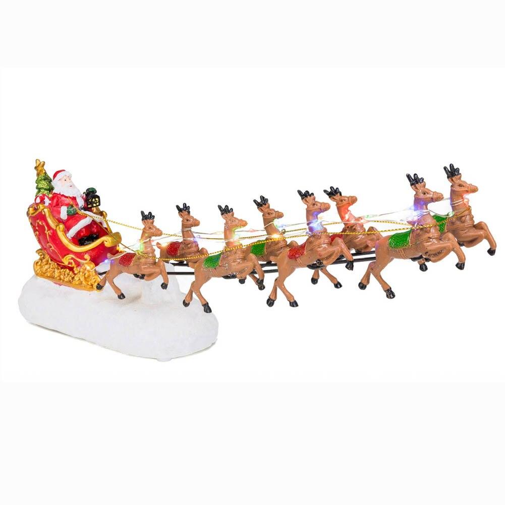 Зимний Рождественский Деревенский домик Санта-Клауса с оленем светильник RGB и музыка