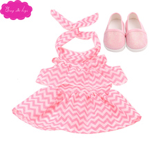 18 inch Girls doll dress Summer print + headband with shoes American newborn skirt Baby toys fit 43 cm baby dolls c504