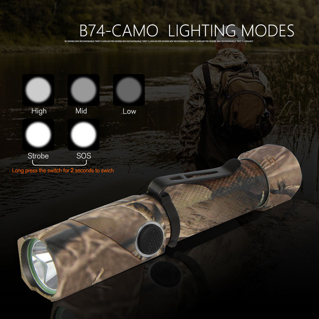 NICRON 3-Color Light 90 Degree Camo Rechargeable Twist Flashlight With 360 Rotary Clip 18650 Waterproof 1200LM LED Torch B70Plus 4