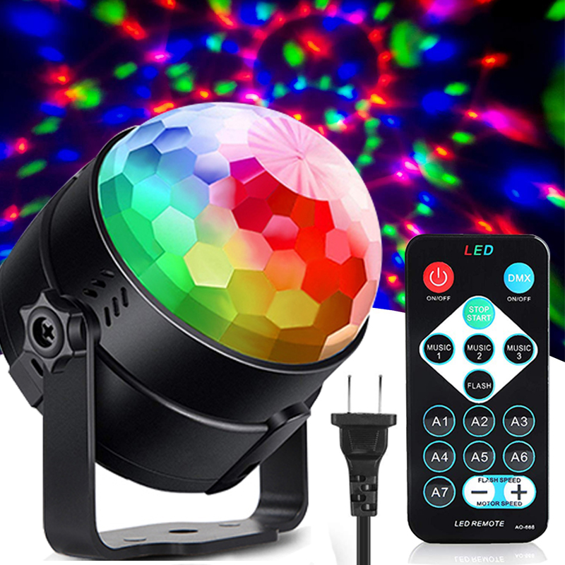 AC 80-240V Colorful Effect Holiday Light Music Control Strobe Disco Stage Light Ktv Dj Christmas Party Lights Kids Gift New Year