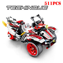 511+Pcs City Pull Back Off-Road Sports Motorcycle Building Blocks Compatible Legoeds Technic Bricks Education Toys For Children