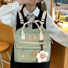 Korean Multi-function Lovely Girl Backpack Japanese Preppy Style Students Schoolbag Large Capacity Contrast Color Travel Bag New