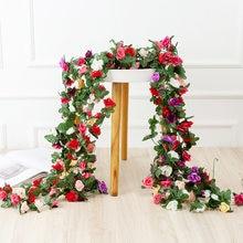 250CM Rose Fleurs Artificielles Guirlande De Noël pour La Maison De Mariage Décoration Printemps Automne Arche De Jardin BRICOLAGE Faux Plante Vigne
