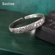 цена Bastiee Lotus Flower 999 Sterling Silver Bangles For Women Armband Hmong Jewellery Luxury Bangle Vintage Bracelet Handmade Gifts онлайн в 2017 году