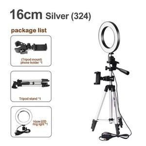 Image 2 - 16cm גובה מתכוונן צילום טלפון מחזיק Led חצובה Stand אנטי להחליק Selfie טבעת אור סט בהיר שידור חי איפור