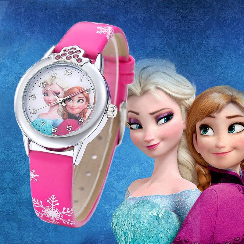 2019 New Cartoon Children Watches Princess Girls Kids Watch Spiderman Boys Students Quartz Clock Fashion Leather Wristwatch