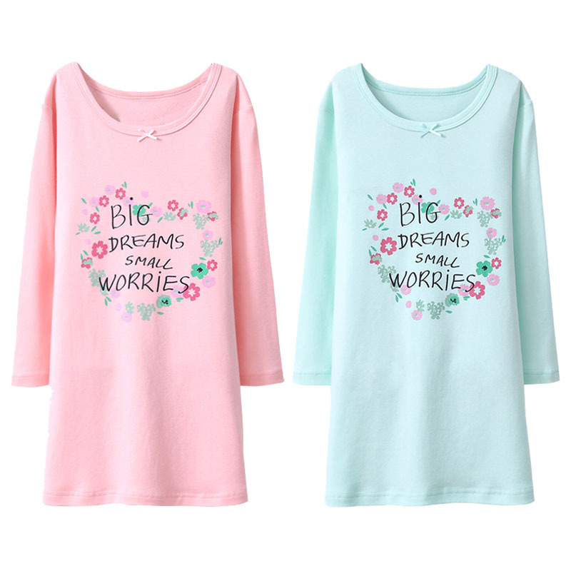Girl'S Nightgown Pure Cotton 2019 Autumn And Winter Air Conditioning Clothes Girls' Pajama Girls Dress Tracksuit Long Sleeve
