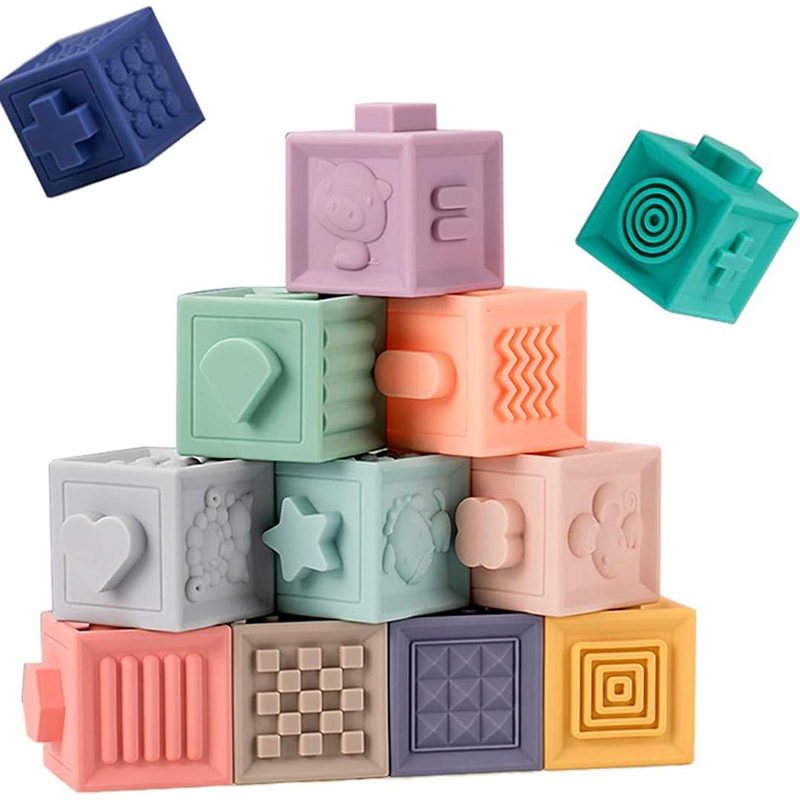 Baby Toy Soft Building Blocks 3D Touch Hand Balls Baby Massage Rubber Teethers Squeeze Sensory Montessori Bath Toy for Kids Gift