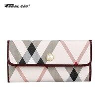 Feral Cat Brand Wallet Women Long Cute Wallet PVC Leather Women Wallets Zipper Female Purse Clutch Cartera Mujer Ladies Purse