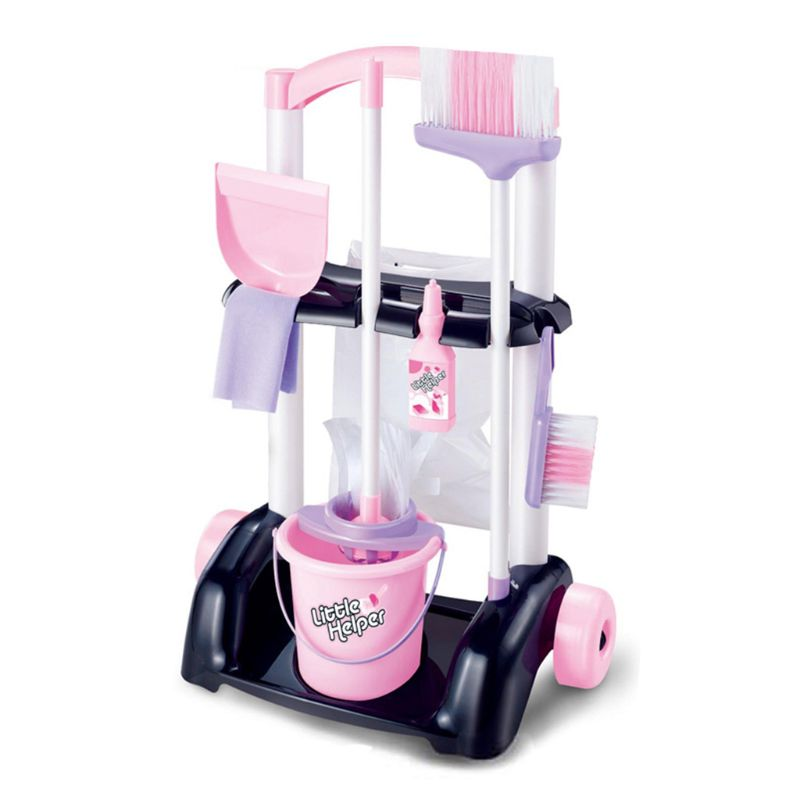 House Cleaning Trolley Set Kids Pretend Play Toy Little Helper Cleaning Play Set