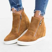 HEFLASHOR 2019 zapatos casuales de cuero para mujer, zapatillas de moda con cremallera lateral, antideslizante, suela, zapatos para mujer, Dropship
