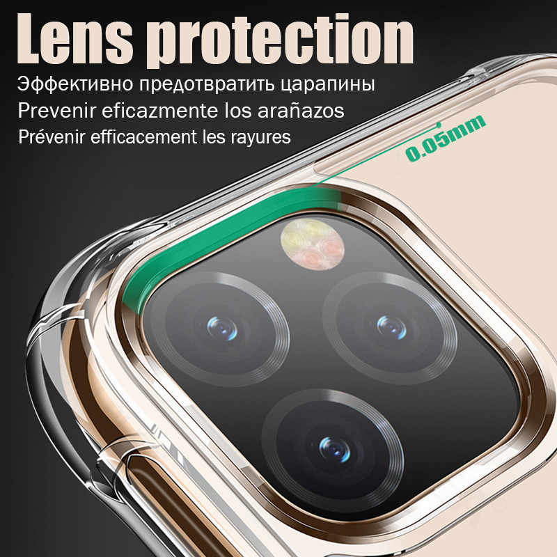 יוקרה שקוף עמיד הלם מקרה עבור iPhone 11 פרו רך TPU סיליקון כיסוי עבור iPhone 11 פרו מקסימום מקרה עם HD מזג זכוכית