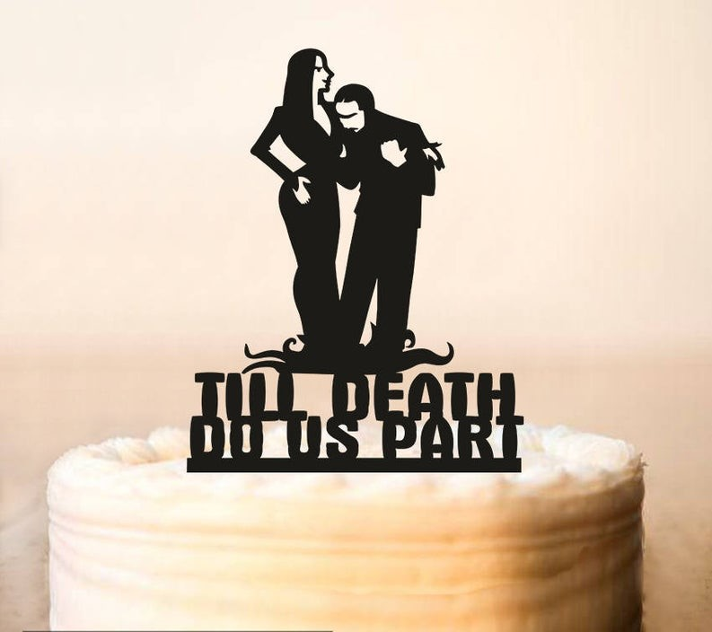 Halloween Wedding Cake Topper,Adams Family,Wedding Cake Topper,Morticia and Gomez topper,Till Death Do Us Part,halloween cake to