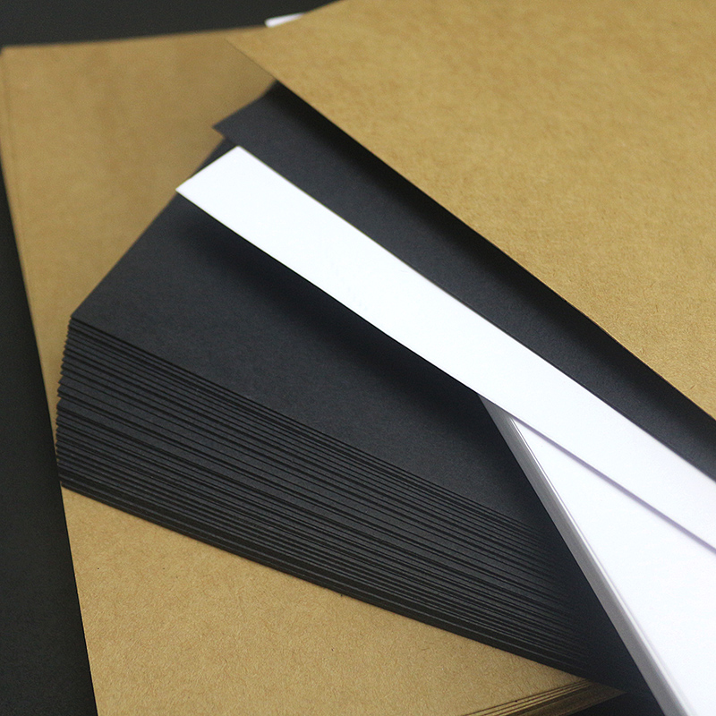 2K Handmand Craft Paper Card Making Cardboard Thick Kraft Paper Hand Art Drawing DIY Graffiti Black Brown White Blank Card Paper