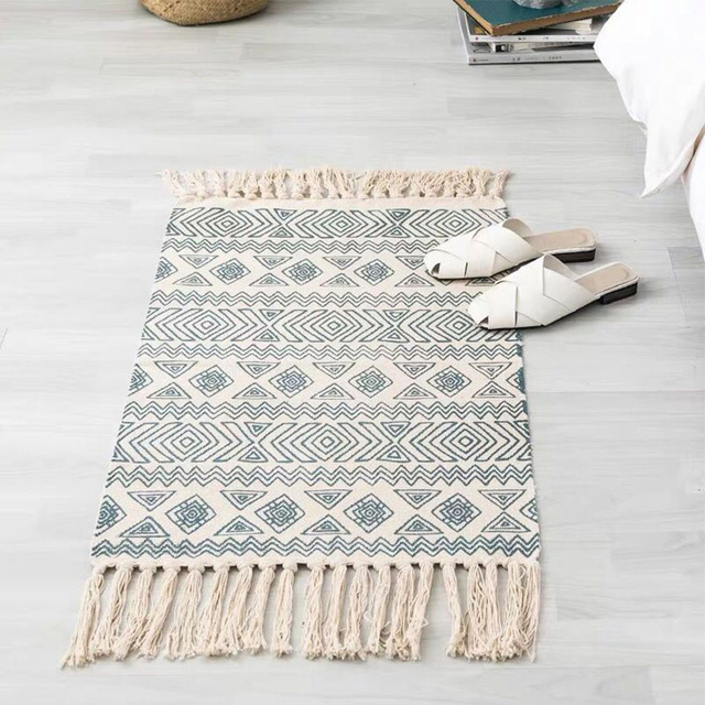 Nordic Cotton Mats Ethnic Carpet Bohemian Carpet Living Room Door Mats Non-Slip Mats Decorative Floor Carpet Door Bedroom Rug