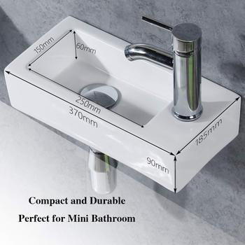 Ceramic Basin Bathroom Sink Right Hand Small Square Wall Hung Cloakroom Toilet Basin Sink Wall Mounted Bathroom White Basin
