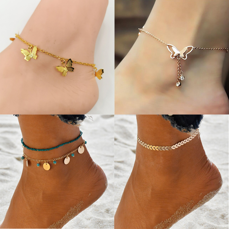 New Fashion Butterfly Anklets For Women Gold Silver Color Chain Ankle Bracelet on the Leg 2020 Bohemian Foot Jewelry
