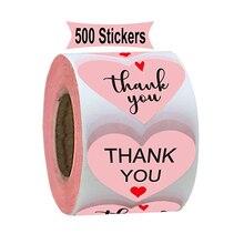 500pcs/lotTHANK YOU heart design Sticker Labels Seals.3.8cm,Wedding gift seal pink sticker