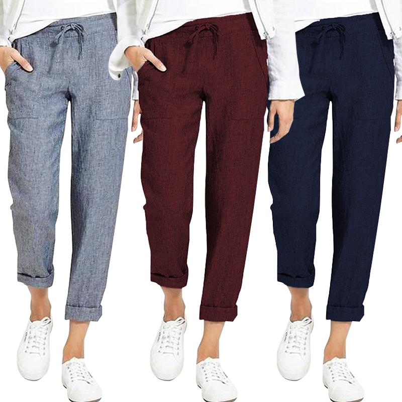 Summer Drawstring Cargo Pants Women's Autumn Trousers 19 ZANZEA Vintage Elastic Waist Pantalon Woman Palazzo Oversized Pant 5