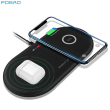 Fast 2 in 1 Dual Wireless Charger Pad สำหรับ Airpods Pro iPhone 8 X XR XS 11 Samsung S20 S10 xiaomi Mi 10 QI Induction 20 วัตต์(China)