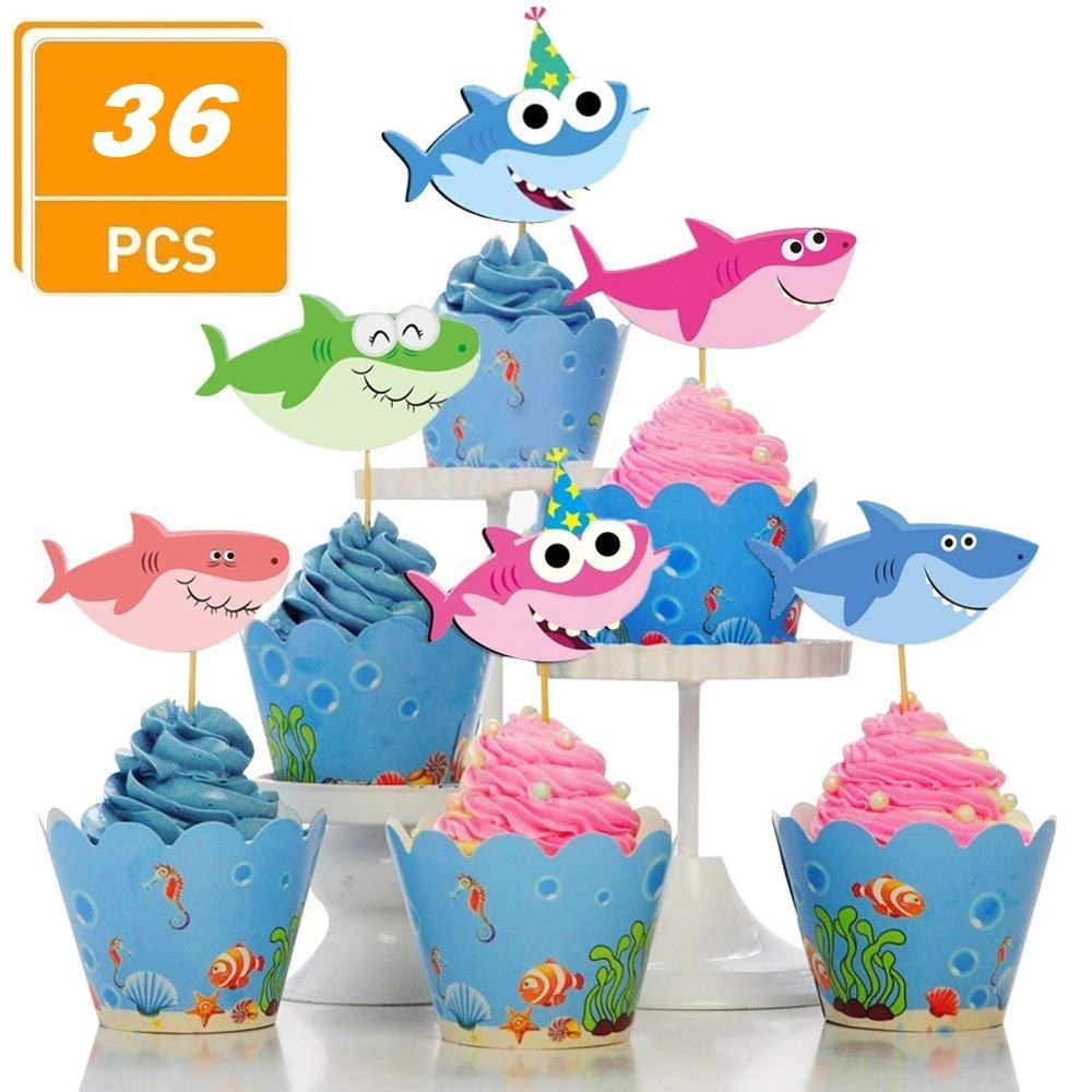 24pcs Baby Shark Cupcake Toppers Decor for Ocean Theme Birthday ...