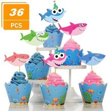 Shark Cupcake Toppers - 36 Pieces Little Shark Cake Topper for Under The Sea Shark Theme Birthday Party, Baby Shower Party shark b003bwqx46 10