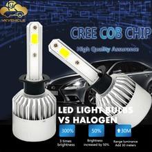 цена на YKVEHICLE S2 led headlights Super bright H1 H4 H7 H11 H13 type Front headlights fog lamps H1 H4 H7 H11 H13 12V 6000K white light